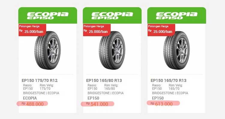 Harga Ban Bridgestone Ecopia EP150