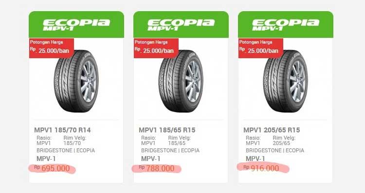 Harga Ban Bridgestone Ecopia MPV-1